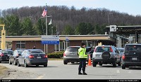 Vermont, Police women dispactch traffic at the border between USA and Canada