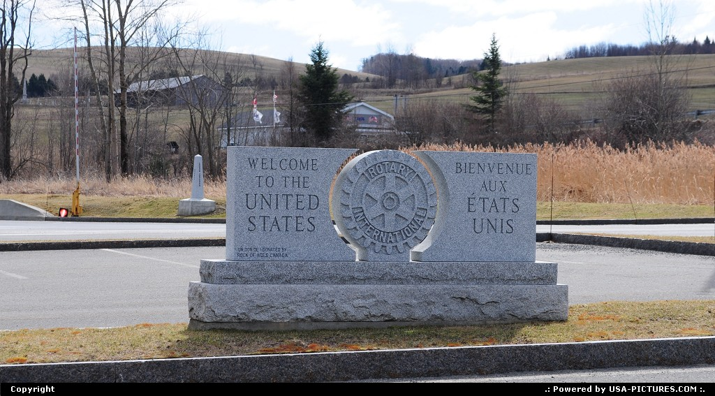Picture by elki: Not in a City Vermont   border stone usa canada