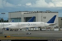 A Boeing Dreamlifter resting close to the paint shop hangar in Paine Field, Everett. Eventually, Boeing plans to have a fleet of 4 Dreamlifter. This huge cargo plane is based on a heavily modified 747. It is a key element of the troubled Dreamliner/787 program.