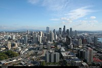 Downtown Seattle/Skyline from the Space Needle. Puget bay to the right