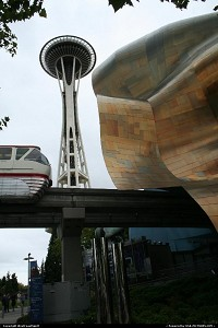 Washington, Clichés from Seattle: Space Needle, the Monorail train and the bended designed Music Project Center.