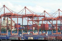 Washington, Cranes and containers at Seattle Port, gateway the now globalized world. At the park in Elliott Bay