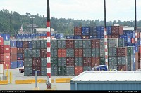 Washington, A rampart of containers awaiting dispatching at the harbor. Seattle harbor is know designed as the largest for cargo operation on the west coast, with some sort of shuttle links with Asia.