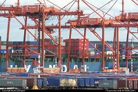 Cranes close up in Port of Seattle complex. Thousands of containers here awaiting swap from sea to ground and ground to sea.