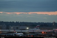 Washington, Airport overview, under an amazing sunset, with the mountains on the background.