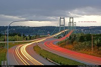 Photo by tiascapes | Tacoma  Tacoma Narrows Bridge, Tacoma, Washington, light streams, light trails