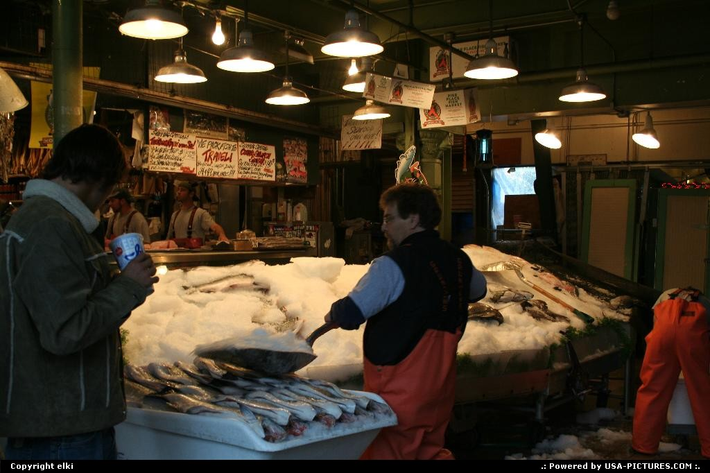 Picture by elki: Seattle Washington   market, fresh food, fish