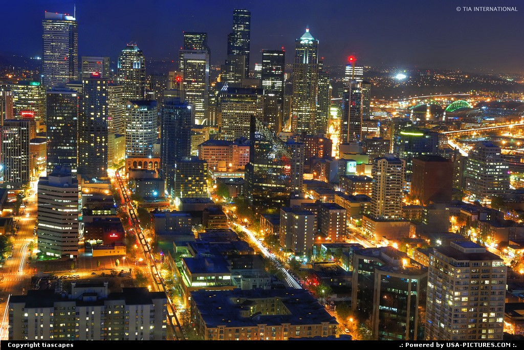 Picture by tiascapes: Seattle Washington   night skyline downtown cityscape