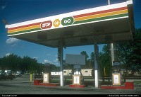 Wisconsin, A Stop'N'Go gas station in Oshkosh. A little known distributor outside the USA, the independant owned and operated network of gas stations and mini marts claims to offer the lowest prices to the gallon nationwide.