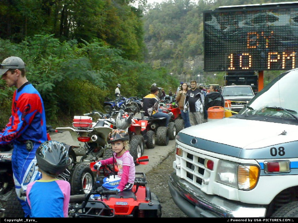 Picture by _Kyra_: Gilbert W-virginia   crowd, blocked, atv, mountains, trees, road, dead end, people