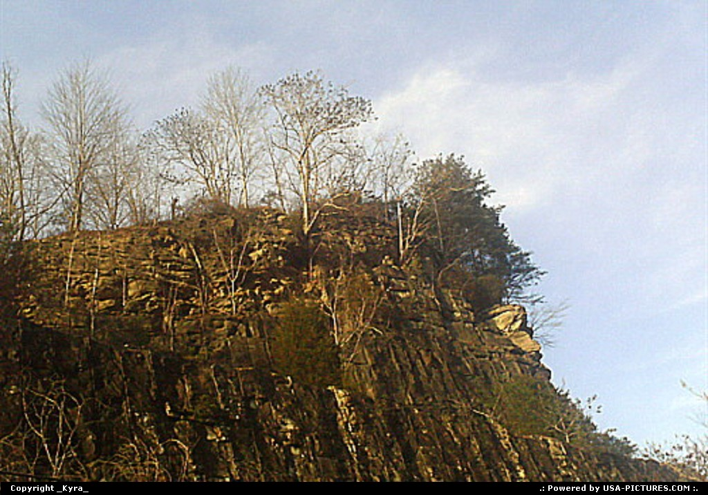 Picture by _Kyra_:JusticeW-virginiamountain, cliff, edge, trees, rock, stone, sky, clouds, bright, high, distance