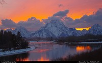 Moran :  Oxbow Bend Sunset Three times this fall we have gone to Oxbow Bend to take sunsets .We have never been disappointed in the show nature puts on for us.