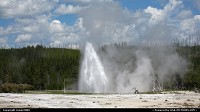 Wyoming, Geyser erumping in the Upper Geyser Basin.