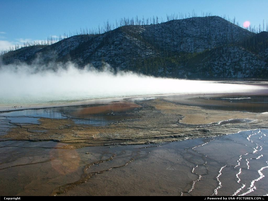 Picture by elki:  Wyoming Yellowstone  geyser, spring, vapor